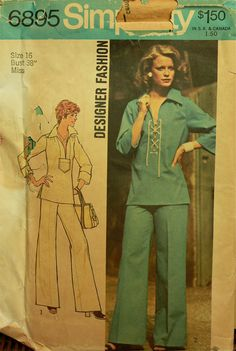 """1970s Designer Fashion Laced Top and Wide-Leg Pants Simplicity Pattern 6895  Uncut   Size 16  Bust 38"""" on Etsy, $12.95"""