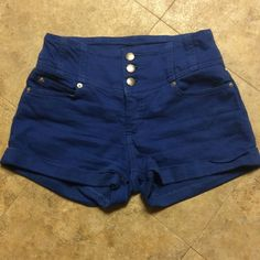 Bebe high waist shorts Cute blue high waist shorts a little wear still in great condition size 25?but fits like a 26 bebe Shorts