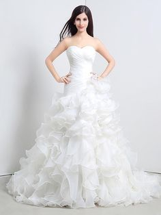 Vestido de Noiva - Branco Princesa Coração Cauda Catedral Organza - BRL R$495,26