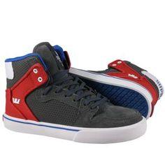 Produit en promotion   Baskets Supra Enfant - Kids Vaider Shoes Dark Shadow/Athletic Red-White