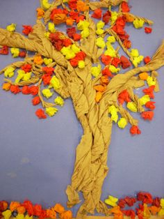 we heart art: Totally Twisted Trees. Looks great as a fall tree but would make a great spring tree, too. Autumn Art, Autumn Trees, Autumn Leaves, Art Activities For Kids, Art For Kids, Fall Crafts, Arts And Crafts, Classe D'art, Twisted Tree