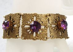 Renaissance Amethyst Panel Bracelet by RedsArtJewelry on Etsy, $48.00