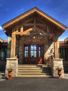 Log Cabin Kitchens Design, Pictures, Remodel, Decor and Ideas  Looking through the house to the view outside