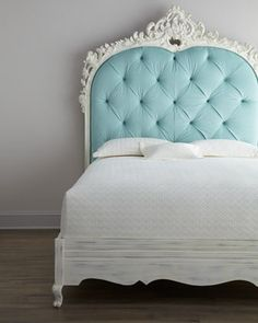 """Classic with a twist—a highly-carved and light blue diamond-tufted headboard adorns this impressive Florence de Dampierre """"Bouvier"""" Bed. From the Florence de Dampierre Collection for … Tufted Headboard, Decor, Home Bedroom, Dreamy Bedrooms, Beautiful Bedrooms, Home Decor, Small Bedroom, Shabby Chic, Pretty Headboard"""