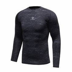 Mens Fitness Training Quick-drying Stretch T-shirt Tight Long Sleeve Sport Tees
