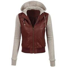 Jaqueta corpo de couro com mangas e capuz em moletom.