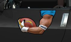 SD Chargers Driver's Arm Car Magnet
