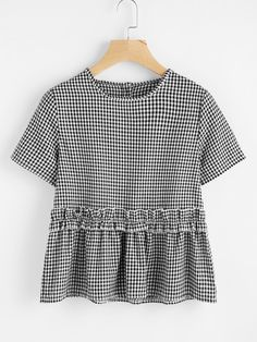 SheIn offers Gingham Frill Trim Blouse & more to fit your fashionable needs. Casual Outfits, Cute Outfits, Fashion Outfits, Womens Fashion, Fashion Fashion, Fashion Ideas, Vintage Fashion, Blouses For Women, T Shirts For Women
