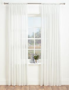 Sheer Voile Panel | M&S Sheer Curtains Bedroom, Living Room Decor Curtains, White Sheer Curtains, Voile Curtains, Modern Net Curtains, Bedroom Decor, Voile Panels, French Country Living Room, Custom Drapes