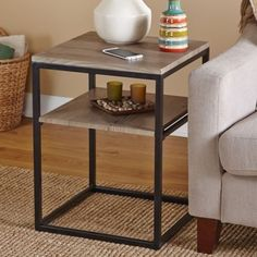 Modern Wood End Table Side Accent Rustic Reclaimed Metal Living Dining Storage #Contemporary