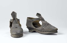 Shoes: ca. 1600-1630, Dutch, cow leather with decorative stitching perforations and serrated edges.