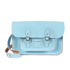 "Bohemia Leather Satchel Bag, 12.5"" Baby Blue: Bohemia's satchels are completely authentic, being handmade in the UK by the same family run business since the 1960's. These highly experienced craftsmen have been creating the finest leather goods throughout the generations. This fabulous baby blue 12.5"" satchel is a great size to fit your i-pad or kindle, making it a fashionlable alternative to a handbag or first school bag."
