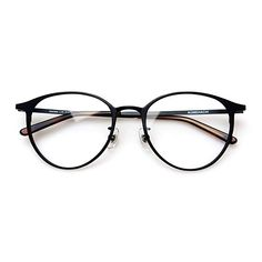 1a0e053e3b4 Komehachi - Super Light Unisex Vintage Simple Elegant Round Metal RX-Ready  Eyeglasses Frame with Clear Lenses (Black)