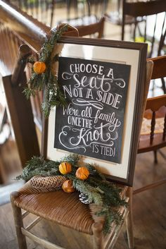 Chalkboard Ceremony Seating Sign at Christmas Wedding | Anna Sawin Photography https://www.theknot.com/marketplace/anna-sawin-photography-stonington-ct-564825