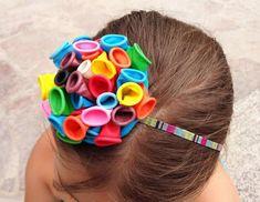 Making Hair Bows, Diy Hair Bows, Diy Hairstyles, Pretty Hairstyles, Felt Hair Accessories, Halloween Karneval, Balloon Crafts, Crazy Hair Days, Hair Ribbons