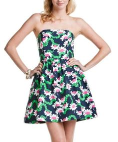 "New Lilly Pulitzer LOTTIE DRESS 8 / 10 / 12 ""Bright Navy Yum Yum"" Strapless NWT"