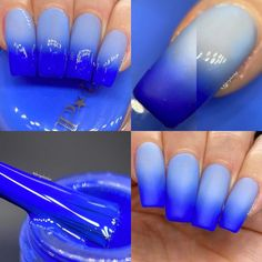 P.O.P Zing Neon Thermal Cream Collection Blue Ice Nail Polish | Etsy Neon Blue Nails, Royal Blue Nails, Blue Acrylic Nails, Black And Blue Nails, Lilac Nails, Blue Nail Designs, Acrylic Nail Designs, Ice Nail Polish, Dope Nails