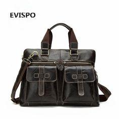 "130.55$  Buy now - http://ali0ib.worldwells.pw/go.php?t=32790829651 - ""Guaranteed genuine leather bag Men's Briefcase men messenger bags natural cowskin 14"""" laptop handbag man EVISPO 2017"""