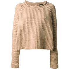 JO NO FUI round neck sweater (18.895 UYU) ❤ liked on Polyvore featuring tops, sweaters, jumpers, shirts, long slit shirt, camel sweater, long jumper, shirt top and shirt sweater