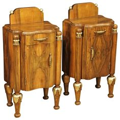 20th Century Bedside Tables Made by Walnut   From a unique collection of antique and modern side tables at https://www.1stdibs.com/furniture/tables/side-tables/