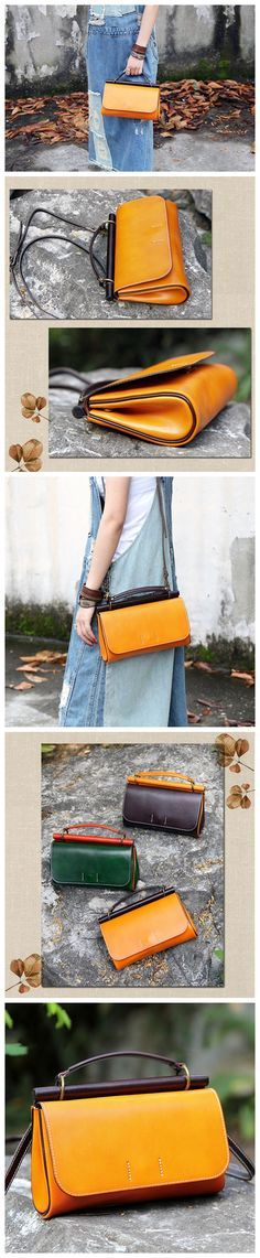 Handmade Genuine Leather Handbag Clutch Small Satchel Messenger for Women 14102 Overview: Design: Vintage Vegetable Tanned Leather Handbag In Stock: 4-5 days For Making Include: Only Handbag Custom: N