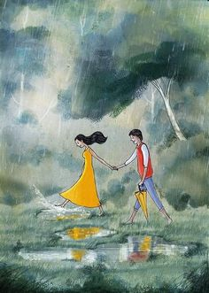 Dancing in the rain illustration art ideas for 2019 Rain Illustration, Couple Illustration, Illustration Artists, Illustrations, Love Cartoon Couple, Cute Couple Art, Anime Love Couple, Animated Love Images, Cute Love Stories