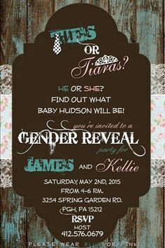 James and kellies gender reveal invites Gender Reveal Invitations, Reveal Parties, Spring Garden, Invites, Rsvp, Party Ideas, Ideas Party