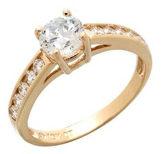 Round Diamonelle 10K Gold Solitaire Ring - YELLOW GOLD