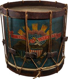"*EAGLE SNARE DRUM~Civil War Regulation 16.5"" diameter, 16"" high including the hoops. The drum retains about 95% of the original painted decoration, absolutely untouched with a fine mellow age patina. Brass tack design around the air hole perfect. Retains the original interior paper label reading ""Manufactured by Horstmann Brothers Military Furnishers Fifth & Cherry Street Philadelphia"". The label appears to be about 70% complete..."