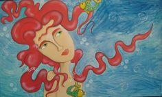 """""""En el fondo del mar"""" Acrílico, oleo y acuarela sobre madera 1m x 60 cm"""