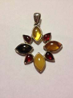 Amber Sterling Pendant Vintage Silver Green Yellow Brown Honey Baltic Polish Poland Southwestern Jewelry 925 Necklace Enhancer Slide Tribal on Etsy, $38.00