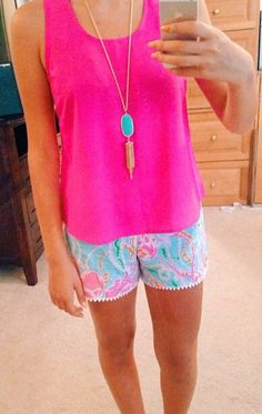 Cute little summer outfit (love the Lilly Pulitzer shorts). She accessorized perfectly.