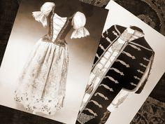 Ladie's and gentleman's clothing, Hungary, 1890s. Collection of Museum of Applied Arts, Budapest. Női és férfidíszruha a XIX. század végéről, Iparművészeti Múzeum.