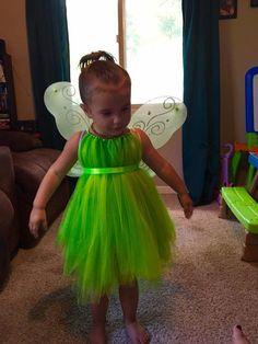 Disfraz de campanita-alas de hadas-vestido verde de Tul
