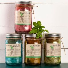 The very handy garden in a jar. Keep them on the kitchen windowsill so herbs are always on hand!