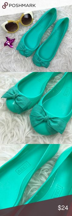 J. Crew Factory Rainy Day Ballet Flats Excellent condition J. Crew Factory Rainy Day Ballet Flats. Size 7. PVC all around with cotton bow. Fits true to size. No trades, offers welcome. J. Crew Factory Shoes Flats & Loafers