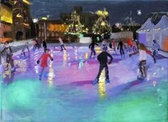 Ice Skating by Andrew Macara. Blank greeting card suitable for Christmas. Published by Art Cove Cards UK