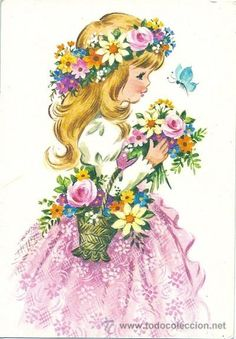 *.:。✿*✿✿.:。✿*✿.。.:*✿.✿・。.:* Vintage Birthday Cards, Vintage Greeting Cards, Vintage Valentines, Clipart Baby, Vintage Pictures, Vintage Images, Romantic Paintings, Precious Children, Angel Art