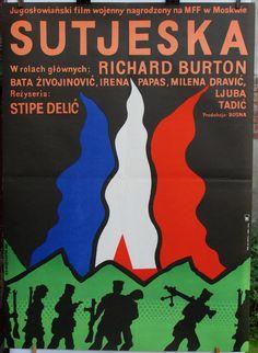 Poster vintage. Yugoslav (1973) film 'SUTJESKA'. Oryginal (1974) polish poster by Jan Mlodozeniec. Retro movie poster