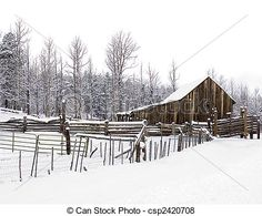 Pictures of Rustic Snowy Barn - A rustic barn and fencing ...