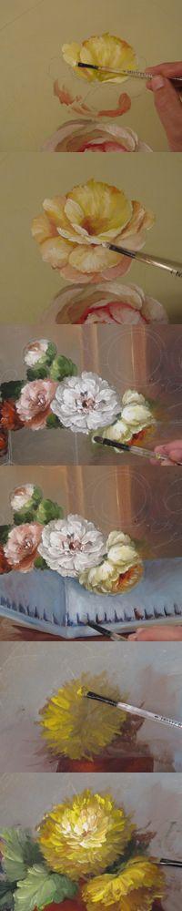 como pintar flores.