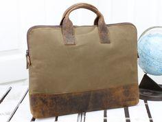 Leather and Canvas Portfolio Case by Scaramanga