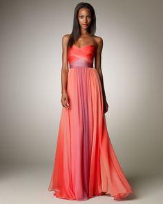 Monique Lhuillier coral gown, omg