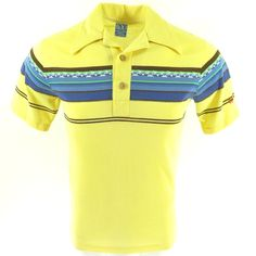 """Made in Unknown by OP Ocean Pacific Yellow color Board stripe pattern 50% Cotton & 50% polyester material Pullover Polo style collar with wooden buttons Palm tree print on front and back OP embroidery on left sleeve  SIZE: Tag Size = Mens Small Actual measurements taken flat on the outside:  Chest = 38 inches (97 cm) Shoulder to Shoulder = 16"""" (41 cm) Back bottom of neck collar to bottom hem = 26.5"""" (67 cm)  ITEM CONDITION: Pre-owned VERY GOOD Normal signs of..."""