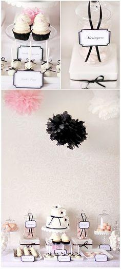 7e2e9ff91a7 Black to go with the damask bridal shower Black Dessert