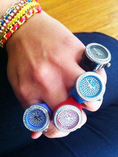 blinged out Toy Ring Watches..ha its a ring and watch in one :)