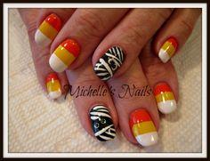 Allegra #michelletysonsnails #nails #nailart #naildesigns #handpaintednailart #halloween #candycorn #mummy