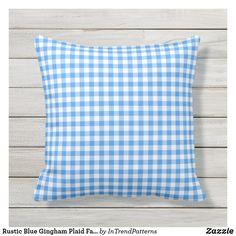Rustic Blue Gingham Plaid Farmhouse Outdoor Pillow
