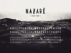 Nazaré is a font inspired by the town of the same name in Portugal. It's a condensed upper-case font with hand drawn lines, roundings and a bit of a tribal touch. The lowercase charac-ters are simpler forms of the uppercase ones, enabling to add variation to the text when the two are mixed, leading
