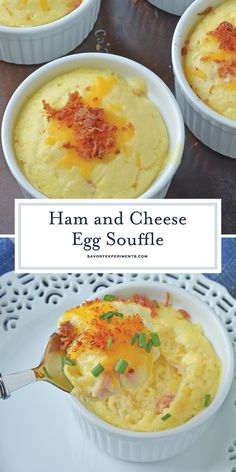 Ham and Cheese Egg Soufflé - A Delicious Soufflé Recipe - This Ham and Cheese Egg Soufflé recipe is perfect for breakfast or brunch, and great for a crowd! Breakfast Souffle, Egg Souffle, Bacon Breakfast, Breakfast Dishes, Breakfast Time, Best Breakfast, Breakfast Recipes, Breakfast Casserole, Cheese Souffle